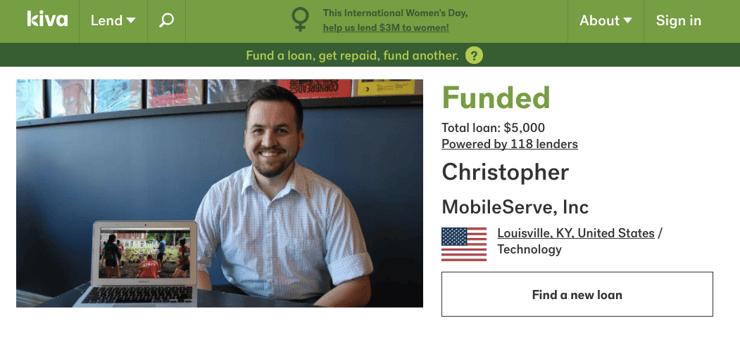 Kiva MobileServe Loan Page.png